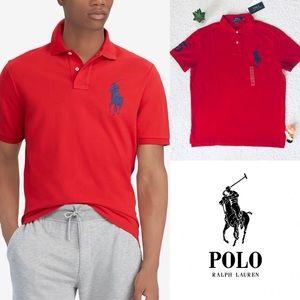 Ralph Lauren Red Big Pony Polo Shirt Men Large New